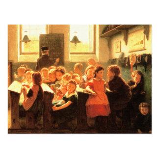 Scène vintage de salle de classe. Cartes postales