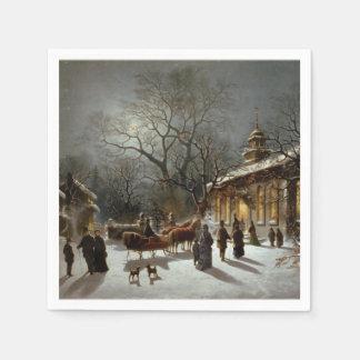 Scène vintage d'église de réveillon de Noël Serviette En Papier