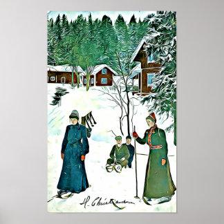 Scène vintage d'hiver, affiche neigeuse de village posters