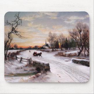 Scène vintage d'hiver. Cadeau Mousepads de Noël Tapis De Souris