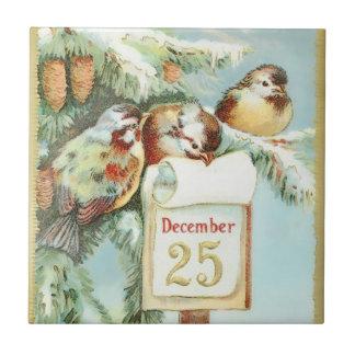 Scène vintage d'hiver des oiseaux dans un arbre petit carreau carré