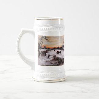 Scène vintage d'hiver. Tasse de bière de cadeau de