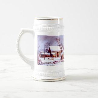 Scène vintage d'hiver. Tasse de cadeau de Noël