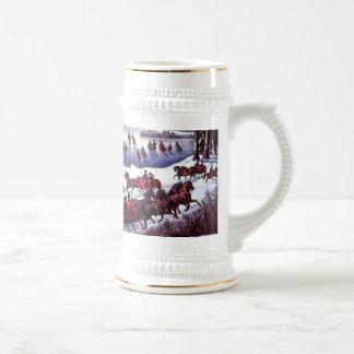 Scène vintage d'hiver. Tasses de bière de cadeau