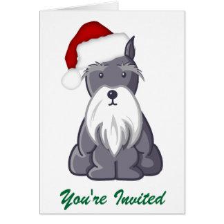 Schnauzer de Père Noël vous êtes invités Carte De Vœux