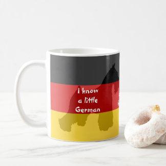 "Schnauzer ""je sais"" tasse de café allemande"