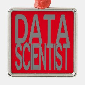 Scientifique de données en texte argenté grand ornement carré argenté