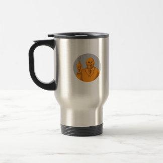 Scientifique fou tenant le dessin de cercle de mug de voyage en acier inoxydable