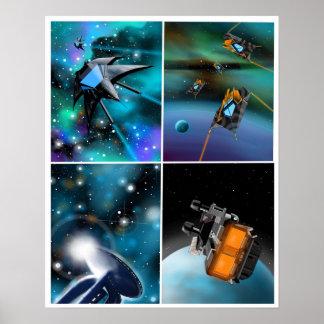 """""""Scifi affiche à travers galaxie"""" Poster"""