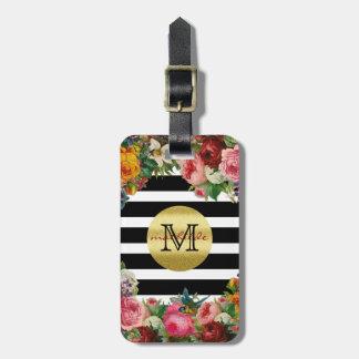 Scintillement à la mode d'or de fleurs de roses de étiquette à bagage