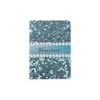Scintillement assez bleu et diamants de Faux Protège-passeport