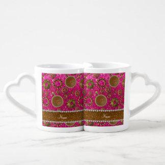 Scintillement au néon de roses indien de steampunk mugs amoureux