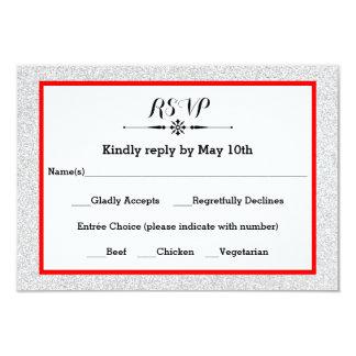 Scintillement blanc et carte rouge de réponse du carton d'invitation 8,89 cm x 12,70 cm