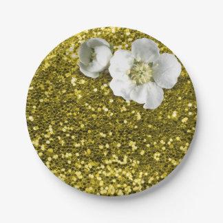 Scintillement blanc floral de jasmin de citron assiettes en papier