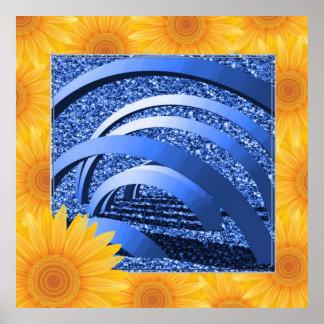 scintillement bleu avec des arcs poster