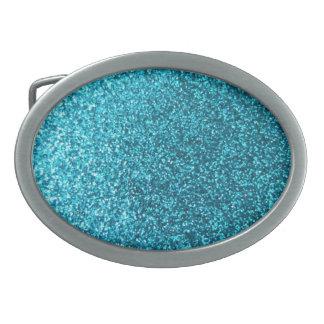 Scintillement bleu de Faux Boucles De Ceinture Ovales