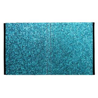 Scintillement bleu de Faux Étui iPad Folio