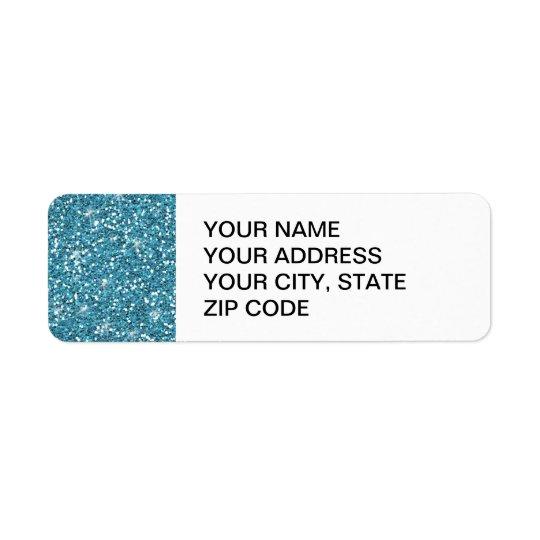 Scintillement bleu imprimé étiquettes d'adresse retour