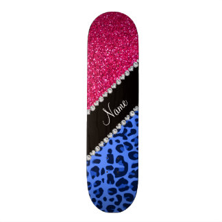 Scintillement bleu nommé personnalisé de rose de l skateboards personnalisés