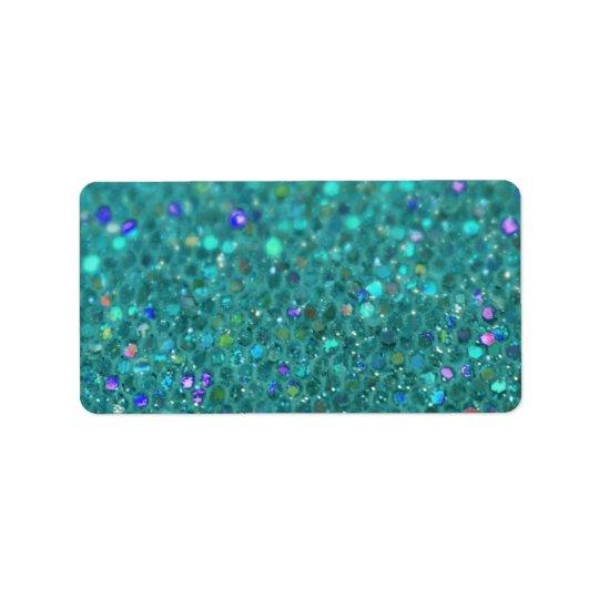 Scintillement bleu turquoise étiquette d'adresse