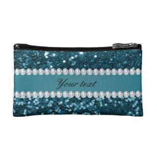 Scintillement bleu turquoise foncé et diamants de petite trousse de maquillage