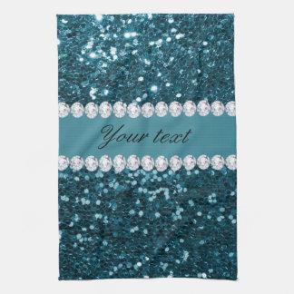 Scintillement bleu turquoise foncé et diamants de serviette éponge