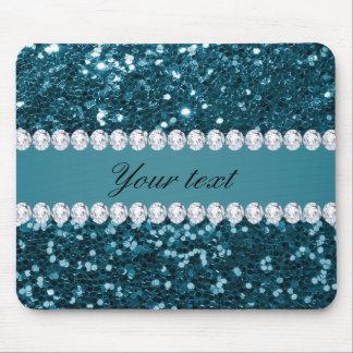 Scintillement bleu turquoise foncé et diamants de tapis de souris