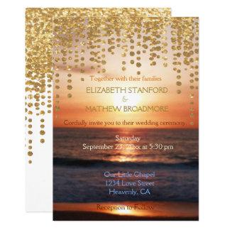 Scintillement de coucher du soleil de plage du carton d'invitation  12,7 cm x 17,78 cm