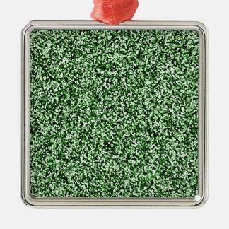 Scintillement de Faux de vert vert Ornement Carré Argenté