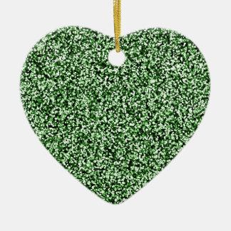 Scintillement de Faux de vert vert Ornement Cœur En Céramique