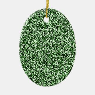 Scintillement de Faux de vert vert Ornement Ovale En Céramique