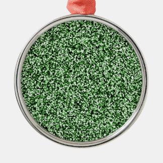 Scintillement de Faux de vert vert Ornement Rond Argenté