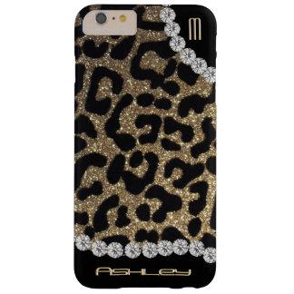 Scintillement de monogramme de léopard coque iPhone 6 plus barely there
