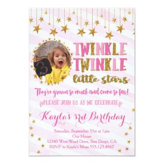 Scintillement de photo de jumeaux peu d'invitation carton d'invitation  12,7 cm x 17,78 cm