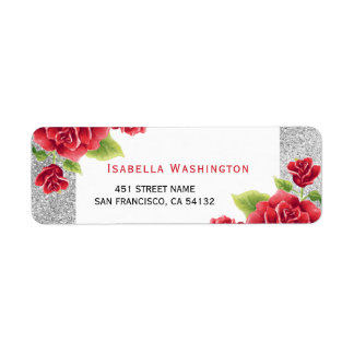 Scintillement de roses rouges et d'argent étiquette d'adresse retour