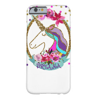 Scintillement d'étincelle de licorne de pois de coque iPhone 6 barely there