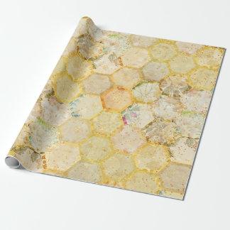 Scintillement d'or de nid d'abeilles floral de papiers cadeaux noël