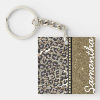 Scintillement d'or et monogramme de léopard porte-clé carré en acrylique une face