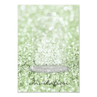 Scintillement du gâteau VIP de diamant de vert de Carton D'invitation 8,89 Cm X 12,70 Cm