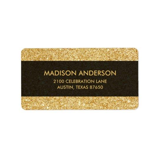 Scintillement élégant d'or de Faux Étiquette D'adresse