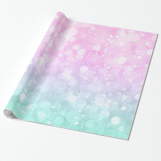 Scintillement en pastel et étincelles fascinants papier cadeau noël