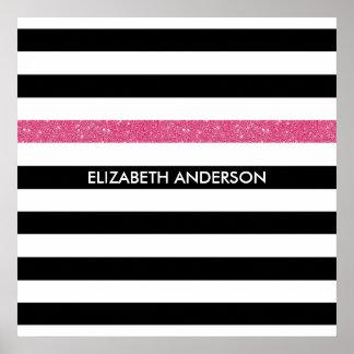 Scintillement et nom blancs noirs modernes de rose poster