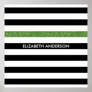 Scintillement et nom blancs noirs modernes de vert poster