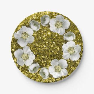 Scintillement floral de mariage de guirlande de assiettes en papier