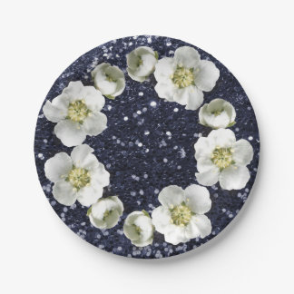 Scintillement floral profond de mariage de assiettes en papier