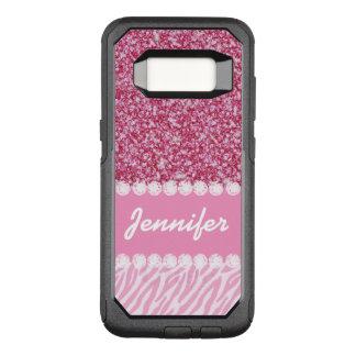 Scintillement Girly et rose, rayures de zèbre, Coque Samsung Galaxy S8 Par OtterBox Commuter