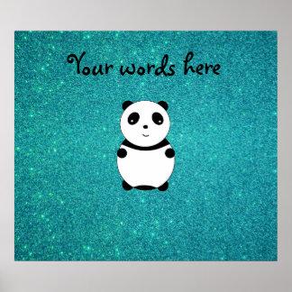 Scintillement mignon de turquoise de panda de bébé affiches