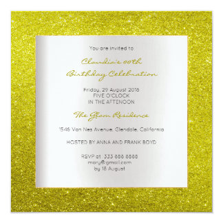 Scintillement minimal de citron de jaune carton d'invitation  13,33 cm