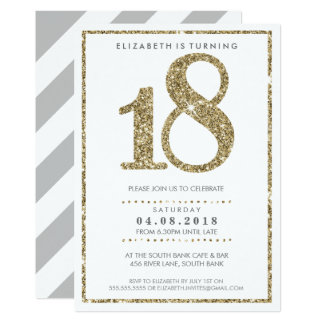 Scintillement moderne de l'or 18 de GRAND d'ÂGE Carton D'invitation 12,7 Cm X 17,78 Cm