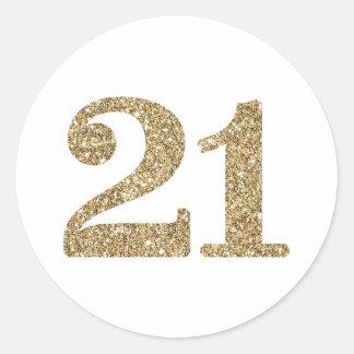 Scintillement moderne de l'or 21 de GRAND NOMBRE Sticker Rond